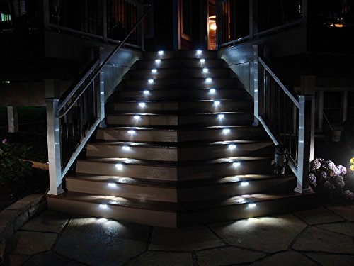 Pack of 4 - Outdoor Stainless Steel LED Solar Step Acciaio Inox Impermeabile Giardino Pathway Scale Luce , Deck, Patio, Etc