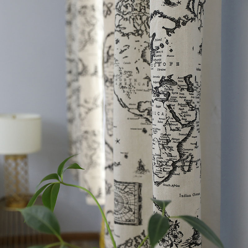Image 3 - Countryside Modern Map Print Blackout Curtain Cotton Thick for Livingroom Bedroom Home Decoration Solid Window Treatment Drape-in Curtains from Home & Garden