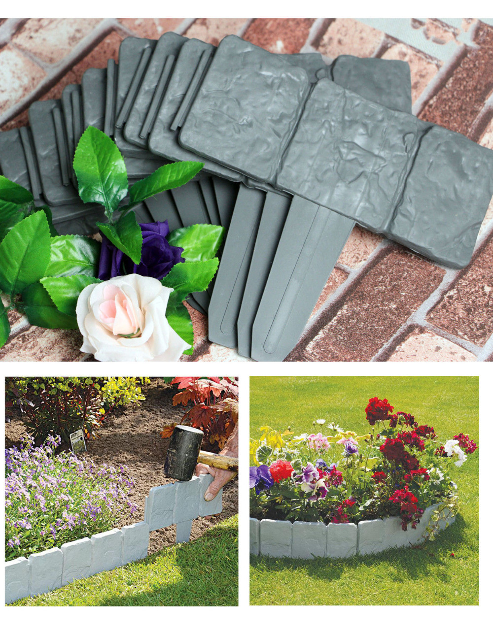 10pcs lakeland cobbled stone effect plastic garden edging hammer in lawn lawn palisade in fencing trellis gates from home garden on aliexpresscom - Plastic Garden Edging