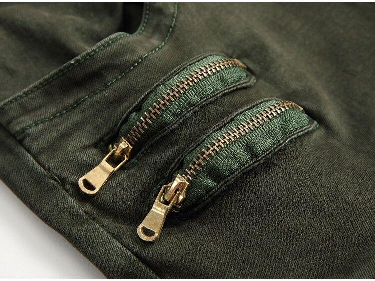New arrival Denim Mens Skinny Biker Jeans Zippers Green Plus Size
