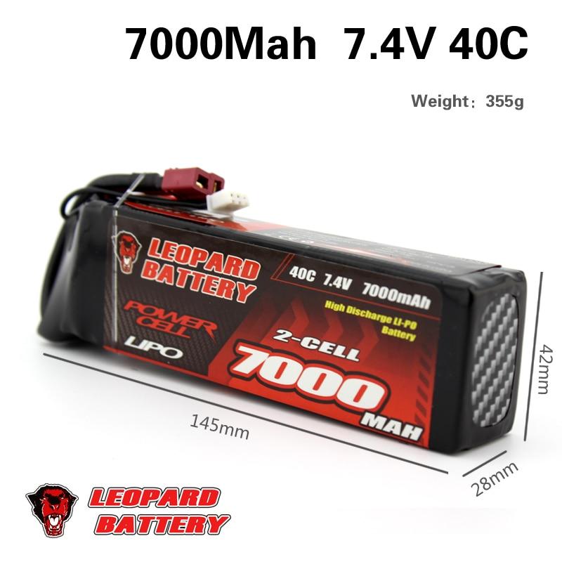 2 pcs LEOPARDO Lipo 40C 2 s 7000 mah Bateria Lipo 7.4 v Bateria para 1/10 de Carro RC 1/8 carro para Traxxas BARRA E REVO TR 4 FLUXO NERO