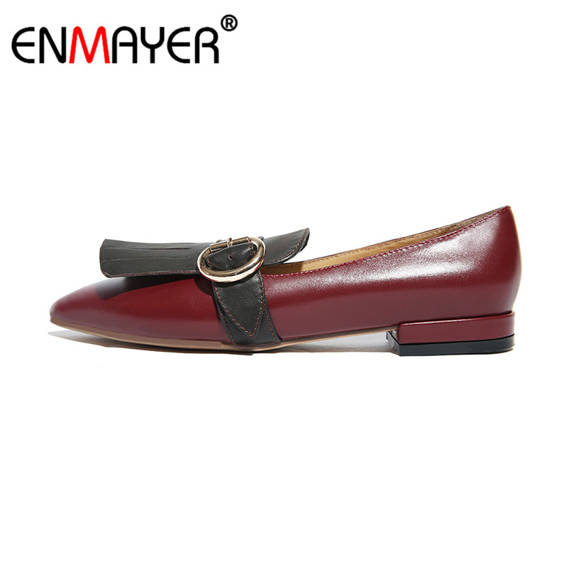 ENMAYER Slip-On Genuine Leather Pointed Toe All-match Women Shoes Buckle Hot Fashion Summer Women Flats Office Lady Dress enmayer pointed toe summer shallow flats slip on luxury brand shoes women plus size 35 46 beige black flats shoe womens