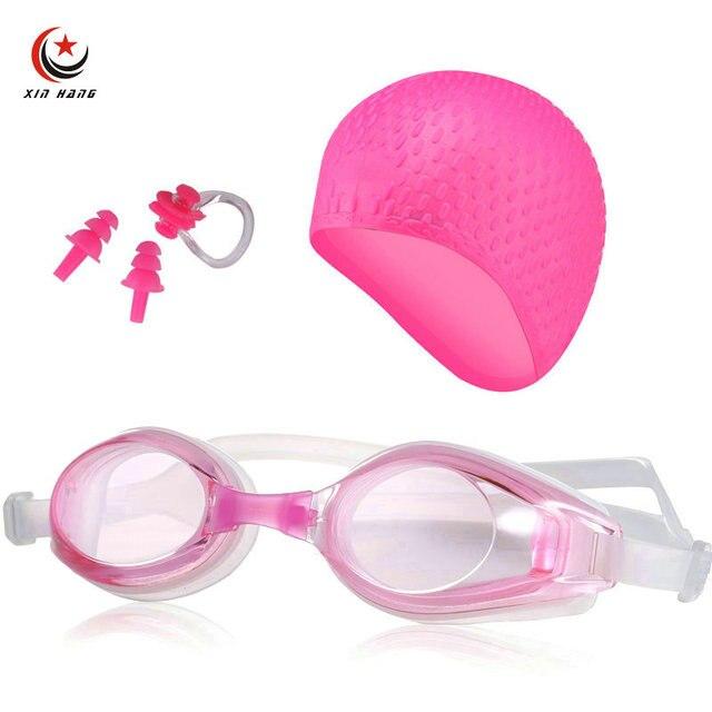 8ddd8346224b € 10.77 45% de DESCUENTO|Un conjunto de 3 piezas para mujer profesional  miopía gafas de natación de silicona para hombre impermeable Anti niebla ...