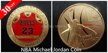 Sample order,1pcs/lot Michael Jordan Coin Collectable Finished In 24k Gold .999 Bulls 23 Basketball coin free shipping(China)