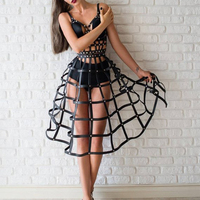 1SET Queen Cool Real Leather Punk Harness Top Bra Belt with Long Caged Skirt Skirted Dress Cosplay Roleplay Dancing Performance