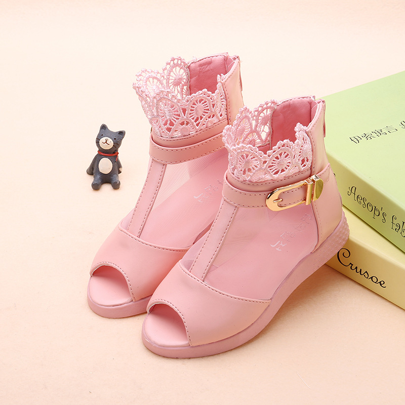 Children Infant Kid Girl Roman Sandals Party Leather Flower Boot Princess Shoes