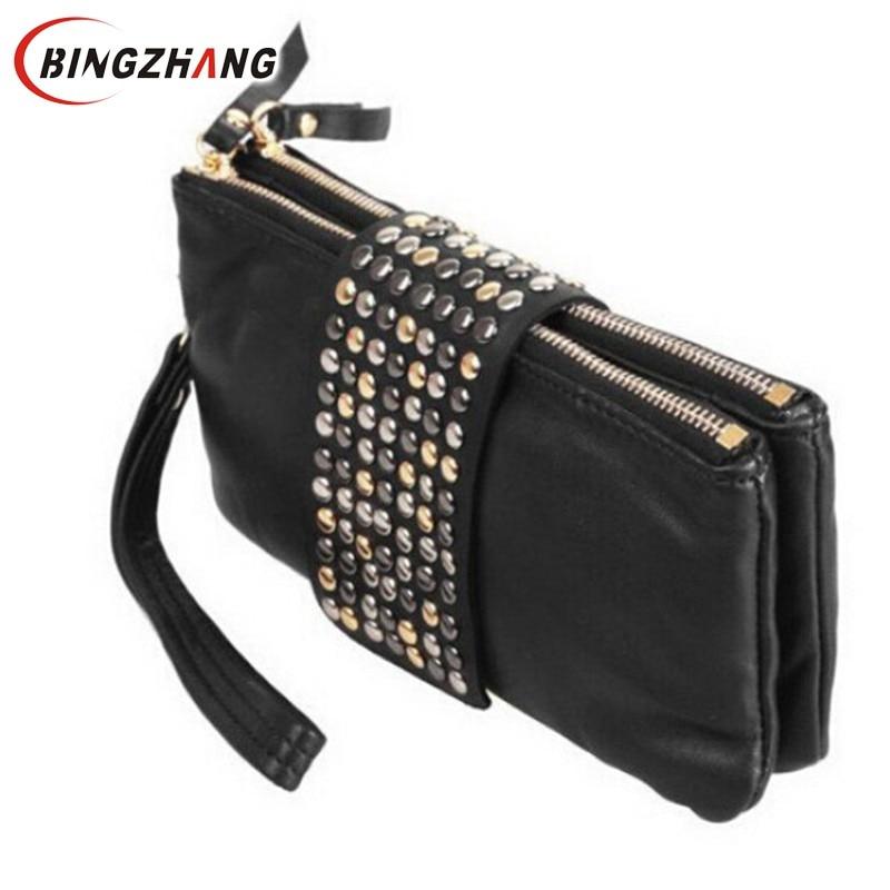 2017 Women wallet Clutch Bag New Arrive Hot selling PU Leather Foctory Price Fashion designer Rivet bag L4-375
