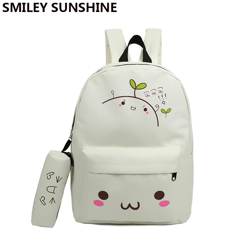 kawaii emoji backpack feminine canvas school backpack youth cute backpack for teenagers girls smiley school bag sac a dos ecole губка tetra bf 400 600 700 800 s