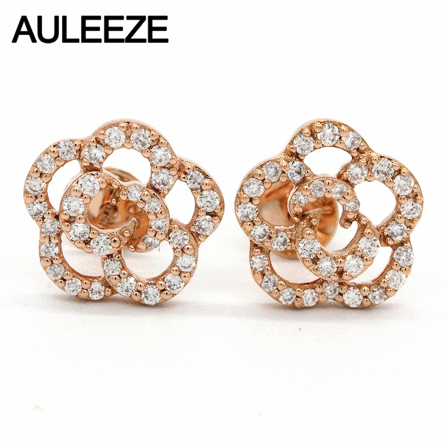 Auleeze Natural Diamond Stud Earrings For Women Flower 18k Solid Rose Gold Fine Jewelry