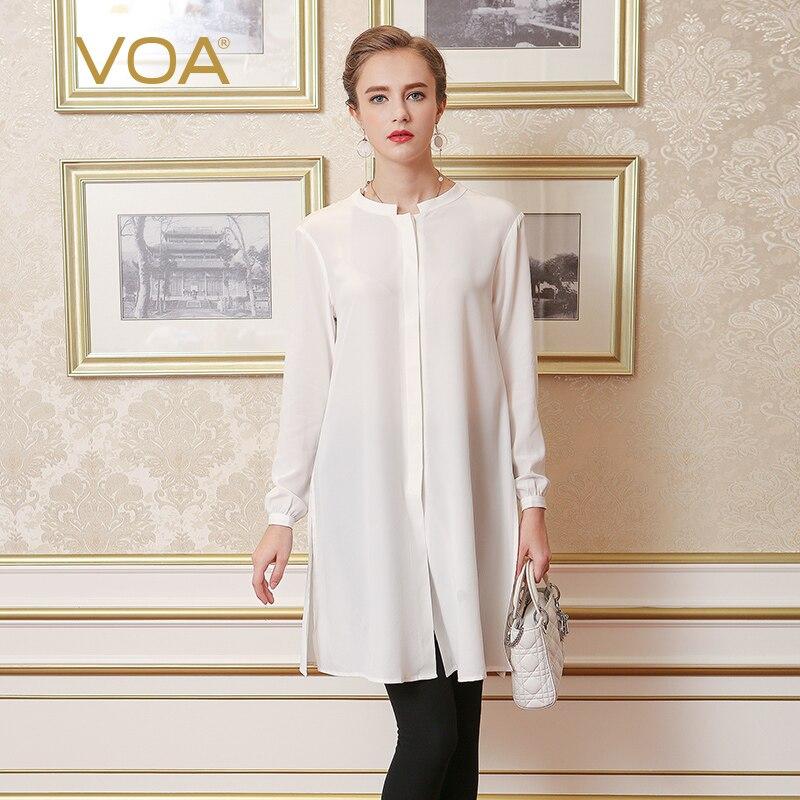 VOA European solid white lengthening silk blouse female loose stand collar font b shirt b font