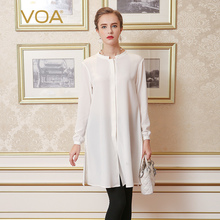 VOA European solid white lengthening silk blouse female loose stand collar shirt women B2112