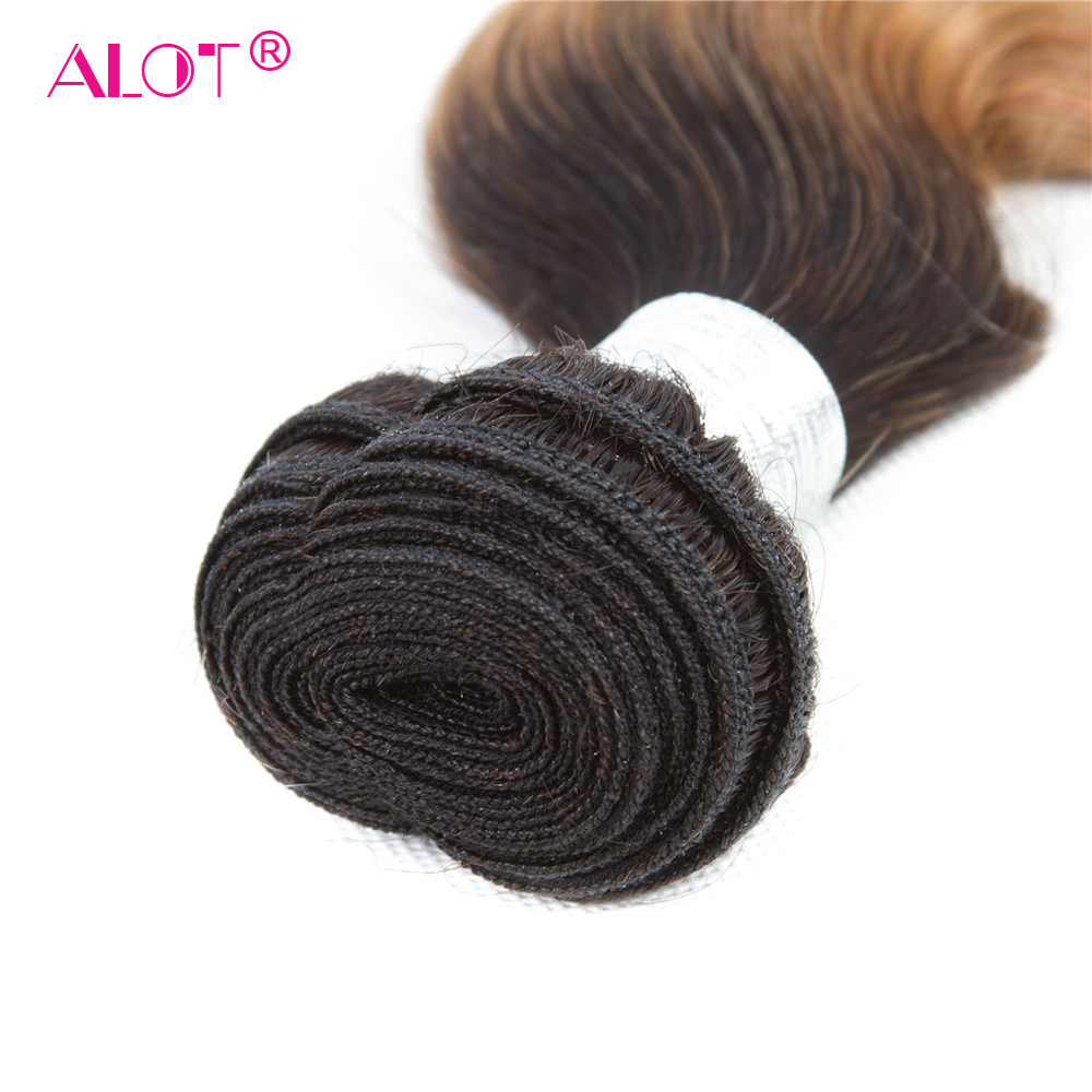 ALot Peruvian 1B/27 Dark Root Ombre Body Wave Human Hair Bundles With Frontal Non Remy Pre Colored Honey Hair Weave 4 PCS-in 3/4 Bundles with Closure from Hair Extensions & Wigs    2