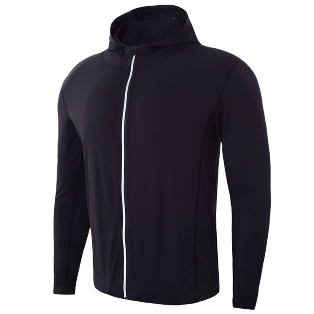 Mens Zipper Fitness Long Sleeves Quick Dry Solid Color Hoodie
