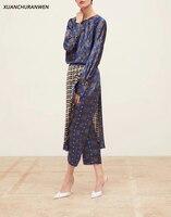 Модные клетчатые комплекты с цветочным принтом топы с длинными рукавами и круглым вырезом, свободные рубашки юбка с высокой талией и брюки, ...
