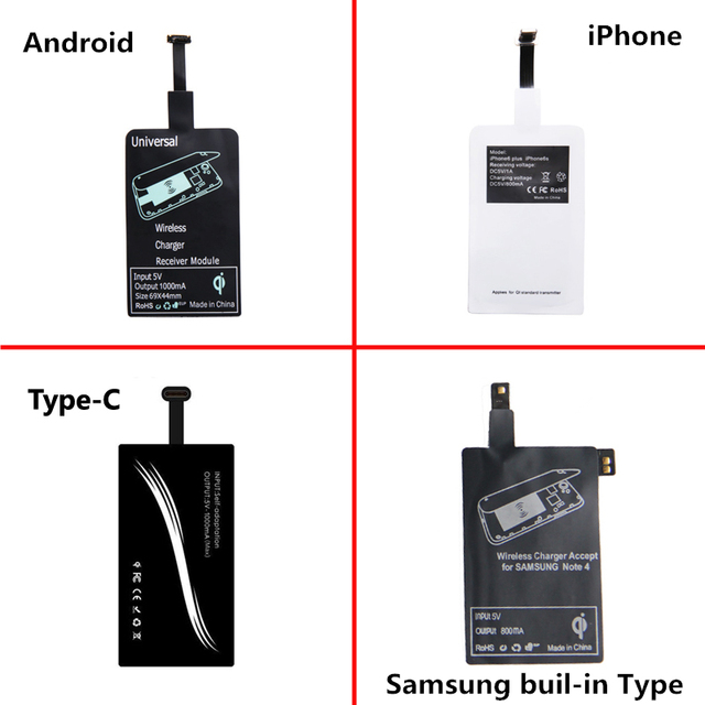 2 Pieces Android Micro USB Qi Wireless Charger Receiver Charging Adapter Receptor Induction Receiver Chip For iphone Samsung