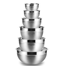 LMETJMA Stainless Steel Mixing Bowls (Set of 6) Non Slip Silicone Bottom Nesting Storage Bowls Set Kitchen Salad Bowls KC0257