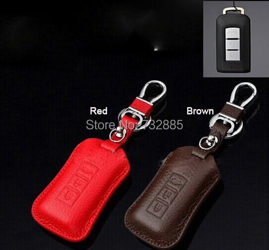 Desin moda Genuine Leather Car Key Case/Titular de la Clave Para Mitsubishi Pajero, Exceder, ASX Accesorios Clave Remoto