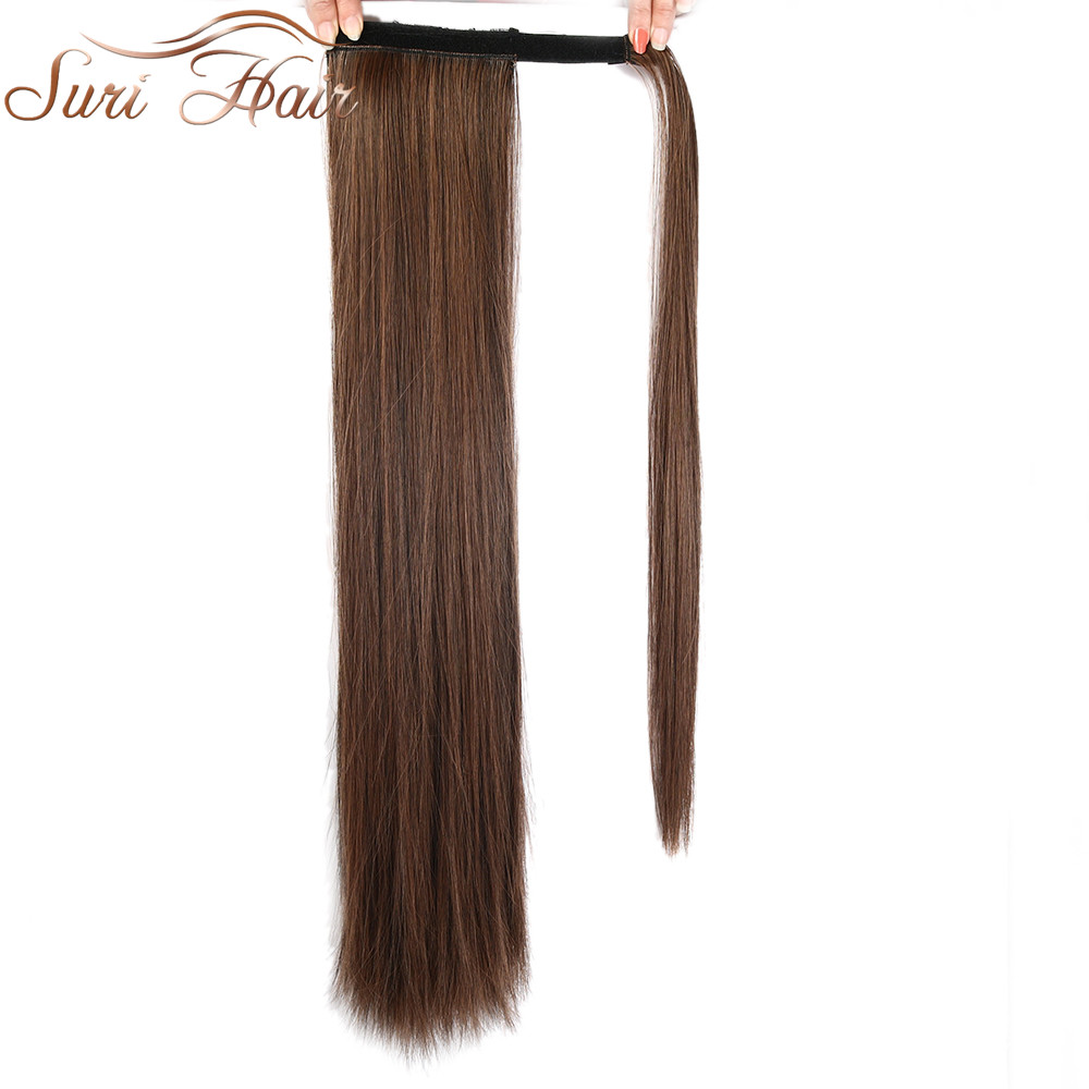 Suri Hair 24'' Long Silky Straight Ponytails Clip In Synthetic Pony Tail Heat Resistant Fake Hair Extension Wrap Round Hairpiece
