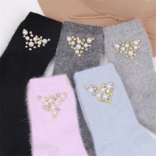 Handmade Thick Warm Rabbit Wool Socks Women Girls Cashmere High Socks Imitation Pearls Beaded Sokken for Spring Winter Fashion