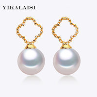 YIKALAISI 2017 new natural Pearl jewelry earrings with 925 sterling Silver jewelry Birthday gift Jewelry for Women Accessories