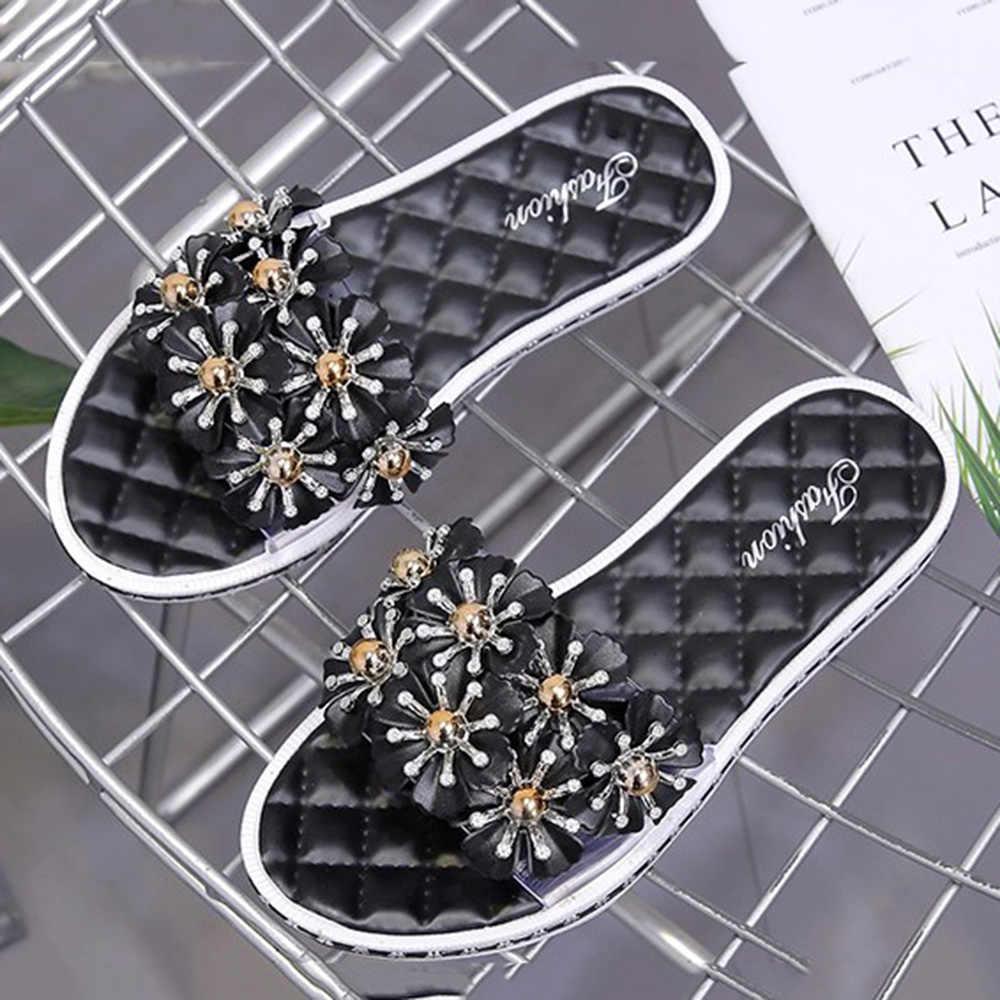 新しい女性サンダル花アーチサポート透明ゼリーの靴ビーズカジュアルフラット背中防水雨の日夏ビーチ毎日