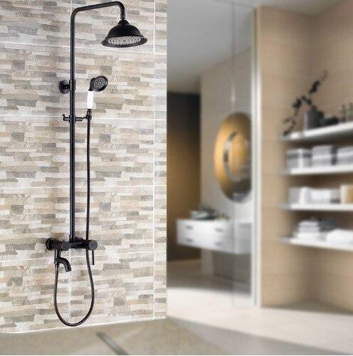 Oil Rubbed Bronze Shower Faucet Set Tub Mixer Tap 8 Shower Head + Hand Shower