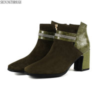 2019 New high heels women ankle boots genuine leather ladies shoes party dress wedding shoes woman black green size 42