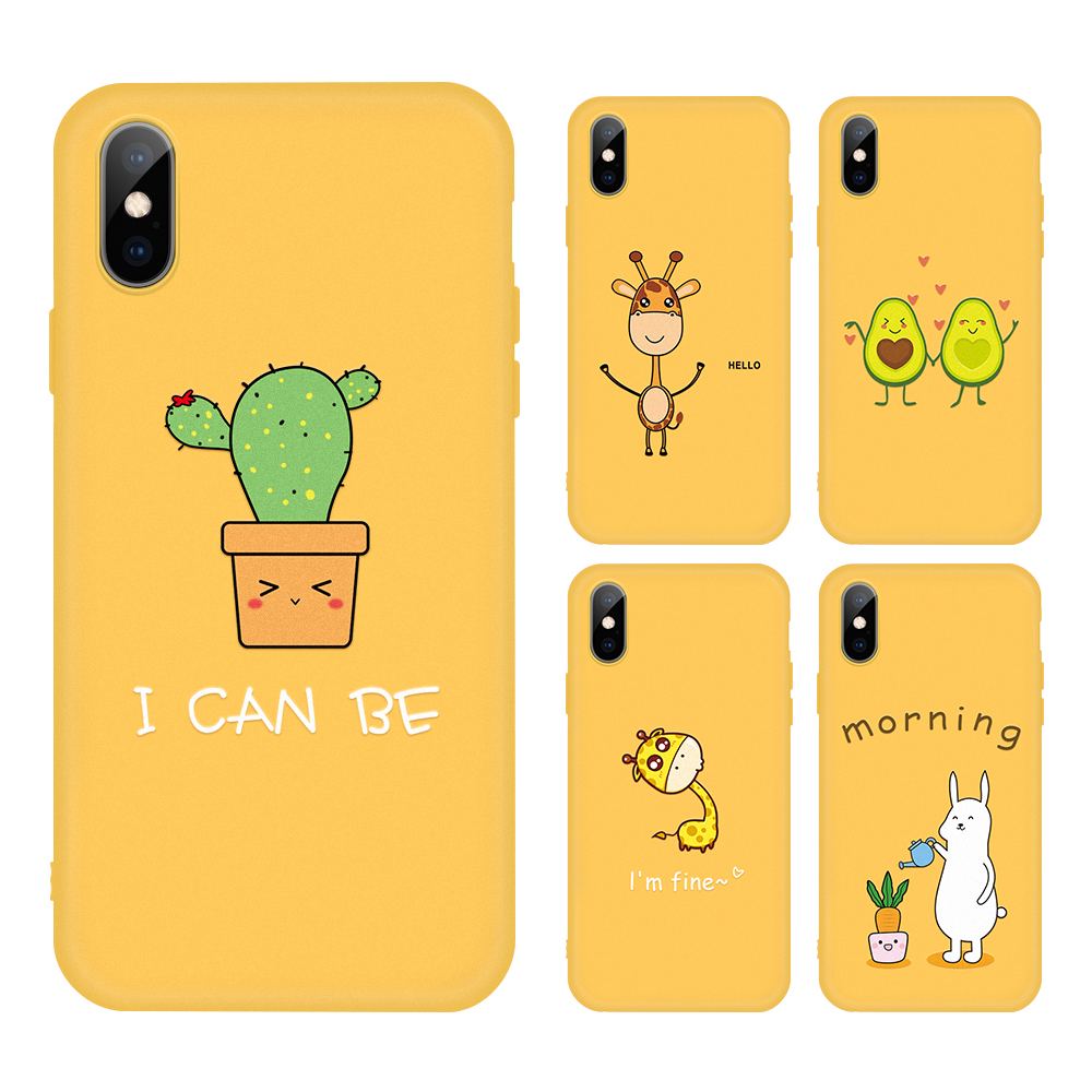 Matte Soft Silicone <font><b>Case</b></font> For <font><b>iphone</b></font> <font><b>XS</b></font> <font><b>Max</b></font> XR <font><b>Yellow</b></font> Phone Back Cover For <font><b>iPhone</b></font> 5 5s SE 6 6S 7 8 Plus <font><b>X</b></font> Protective Coque Capa image