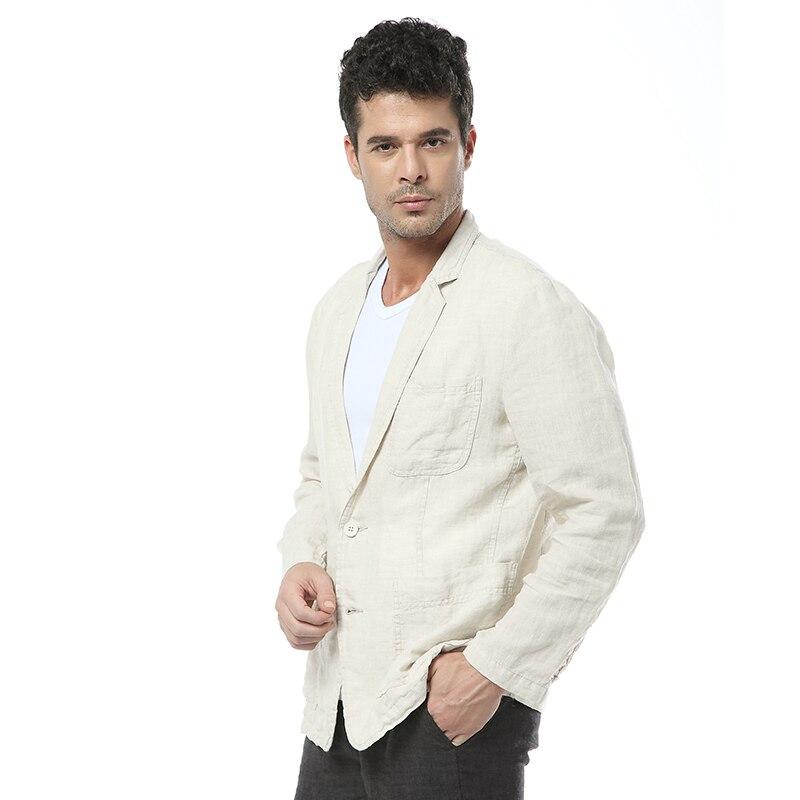 2017 nouveau style britannique tendance lin veste hommes décontractée costume 100% lin marque vêtements d'affaires costumes hommes mode blazer masculino-in Blazers from Vêtements homme    3