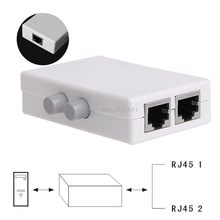 Mini 2 Port AB Network Manual Sharing Switch Box 2In1/1In2 RJ45 Network/Ethernet