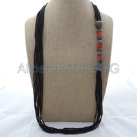 36 7 Stands Black Crystal Red Coral Necklace