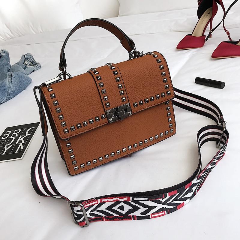 2019 Brand Women Bags Luxury Handbags Women Messenger Bags Cover Rivet Bag Girls Fashion Shoulder Bag Ladies PU Leather Handbags