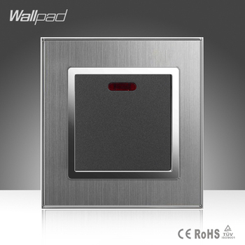 20A Heater Switch Wallpad Luxury 110-250V Grey Brushed Metal UK EU Standard LED Indicator Water Wall