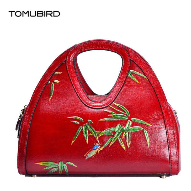 TOMUBIRD 2018 new superior Cowhide fashion Bamboo leaf embossing genuine leather women bag designer handbags luxury leather bag tomubird new superior cowhide leather embossing flower brand women tote fashion luxury women genuine leather handbags