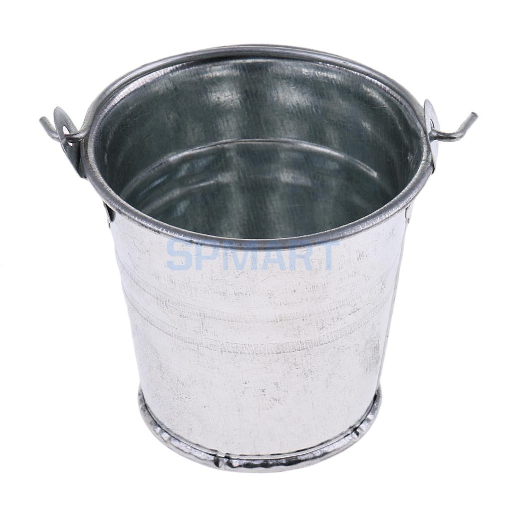 "2 X 1:6 Scale Metal Buckets Silvery Color Iron Model Toy Fits 12/"" Action Figure"