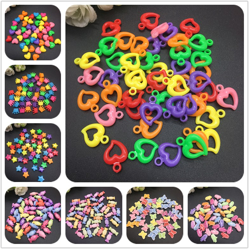 Beads Animal Necklace Diy Bracelet Jewelry-Making Acrylic Spaced Mix-Colors for 50pcs