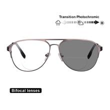 TRANSITION Photochromic Bifocal แว่นตาสายตายาวกรอบโลหะ UV400 แว่นตากันแดด
