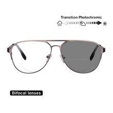 Transição óculos de leitura bifocal fotocromática óptica hyperopia metal frame uv400 óculos de sol