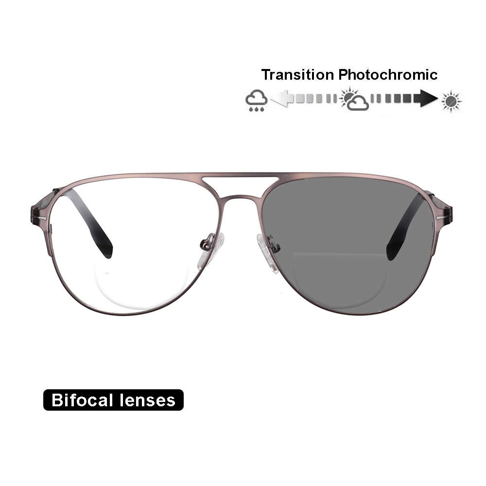 ecf883db3c Transición fotocromáticos lentes bifocales gafas de lectura óptica  hipermetropía marco de Metal UV400 gafas de sol