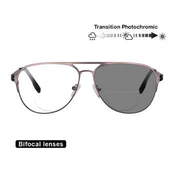 29e6b88891 Transición fotocromáticos lentes bifocales gafas de lectura óptica  hipermetropía marco de Metal UV400 gafas de sol