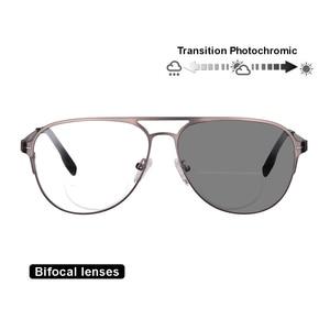 Image 1 - Transition Photochromic Bifocal Reading Glasses Optical Hyperopia Metal Frame UV400 Sunglasses