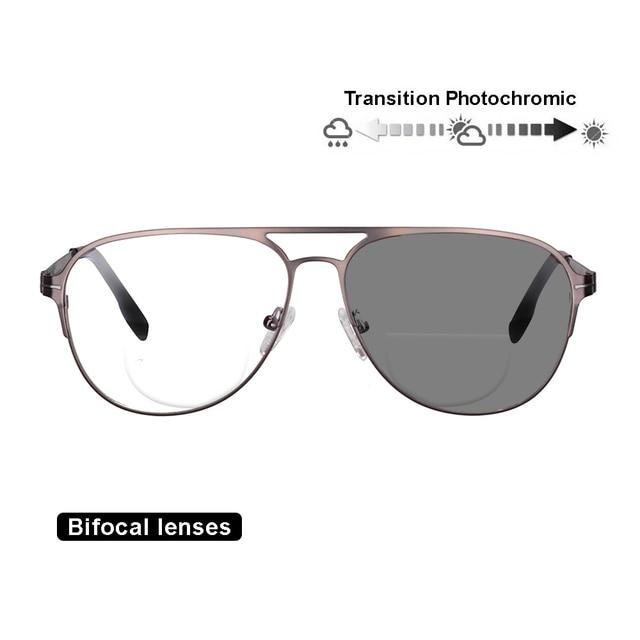 Transition Photochromic Bifocal Reading Glasses Optical Hyperopia Metal Frame UV400 Sunglasses