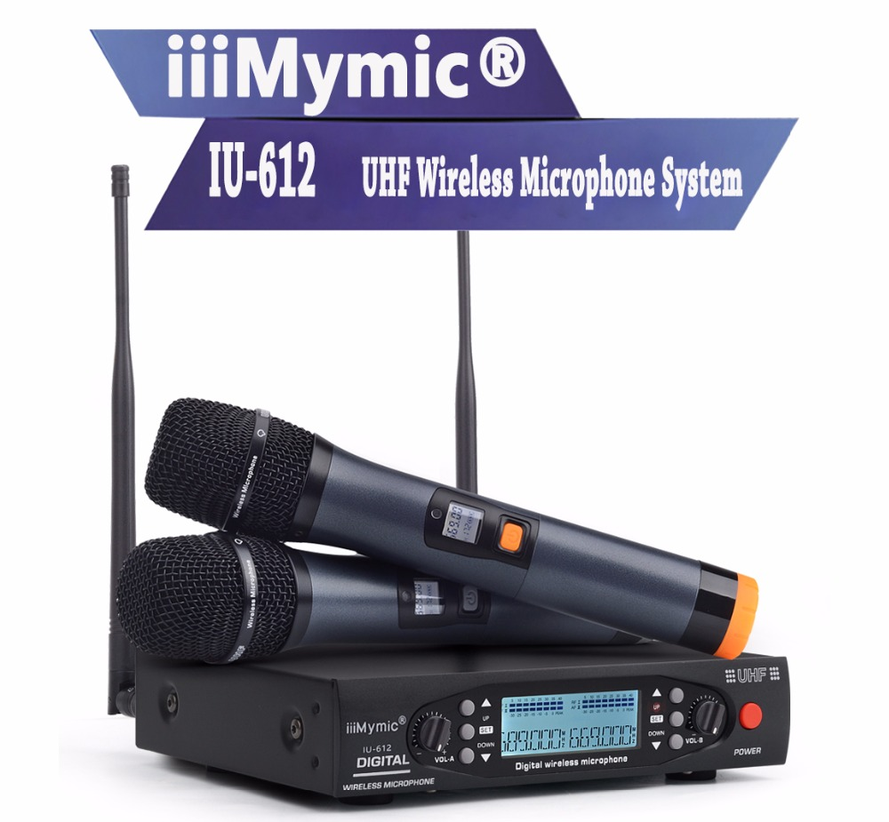 цена на iiiMymic IU-612 PLL UHF Wireless Microphone System Dual 100 Channels Metal Handheld Wireless Mic Dynamic Mic Karoke KTV Party