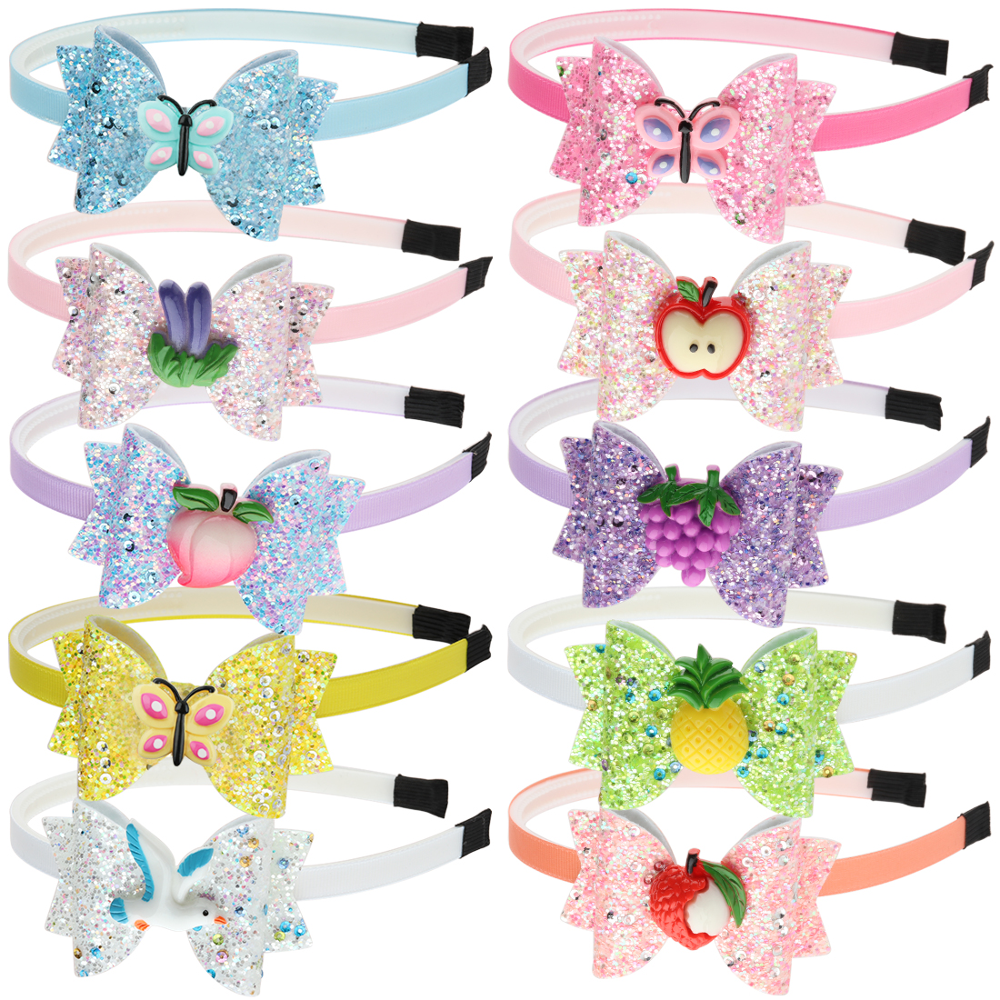 10pcs/set Girls Novelty Hairbands Glitter Sequin Shiny Bows Fruit Apple Resin Design 3 Inch Hair Bow Children Head Hoop