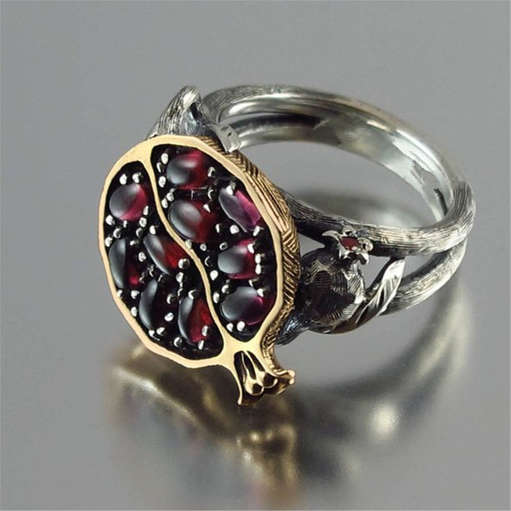 Trendy Natural Red Garnet Ring for Women Charm Pomegranate Crystal Rings Wedding Engagement Jewelry S4 in Wedding Bands from Jewelry Accessories
