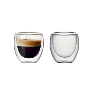 Set of 2/6 80ml Double-wall Insulated Glass Coffee Cup Set for Drinking Teacup of coffee,Latte,Espresso cup or drinking cup