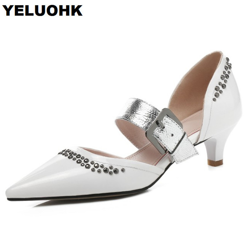 Large Size 43 Pointed Toe Ladies Shoes High Heels Women Shoes Patent Leather Mary Janes Shoes Woman Pumps For Heels large size 42 rhinestone shoes women low heel pumps pointed toe genuine leather shoes women high heels mary janes ladies shoes