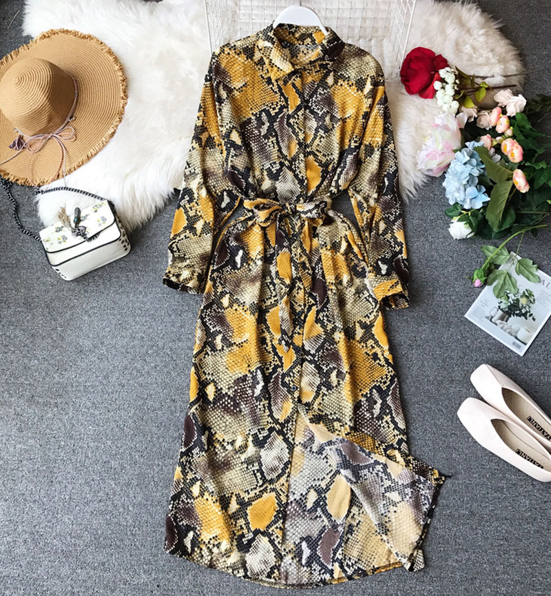 2019 Spring And Summer Women's Chic Snake Pattern Dress Long-sleeved New Loose Thin Tide Shirt Dress Long Lace Dress Female