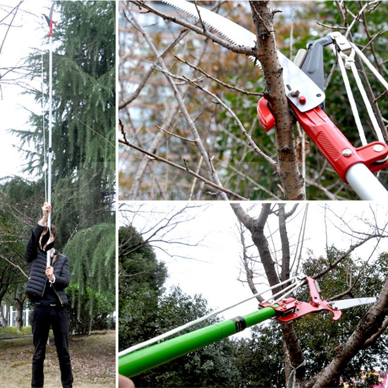Horticulture High Altitude Scissors Garden Tools Pruning Shears High Sticks Saw (scissors + saw +rope no rod)