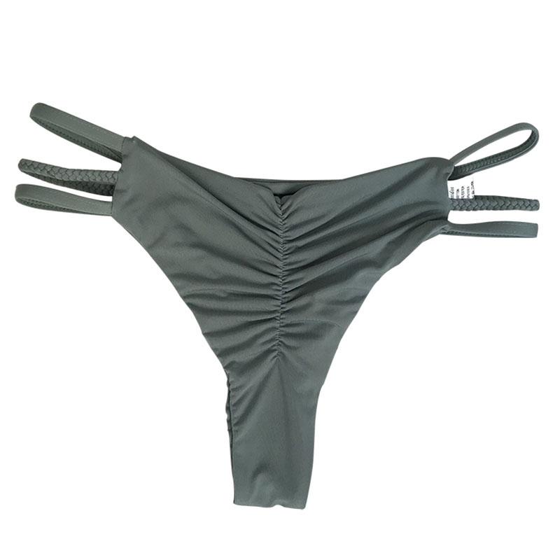 af15296146d7d Thong bikini bottom pleated pants Black cutout maillot de bain women ...